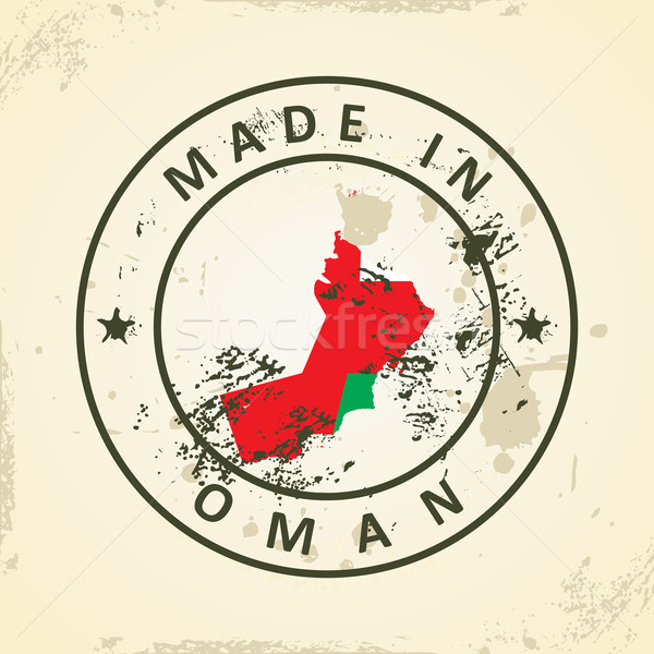 Stamp with map flag of Oman Stock photo © ojal