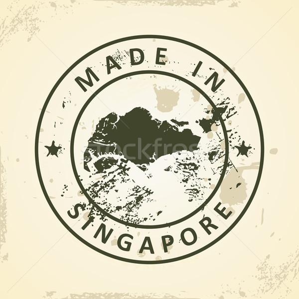 Stempel kaart Singapore grunge wereld reizen Stockfoto © ojal