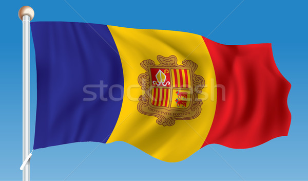 Vlag Andorra stad abstract ontwerp silhouet Stockfoto © ojal