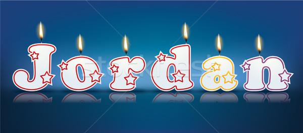 Jordânia escrito ardente velas luz aniversário Foto stock © ojal