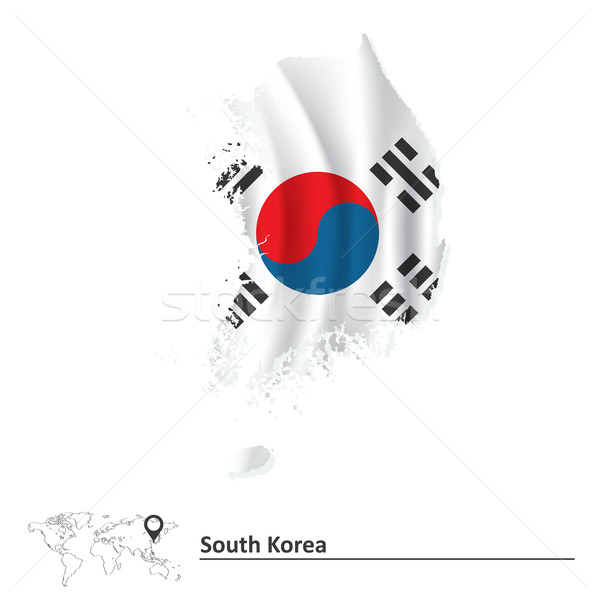 Map of South Korea with flag Stock photo © ojal