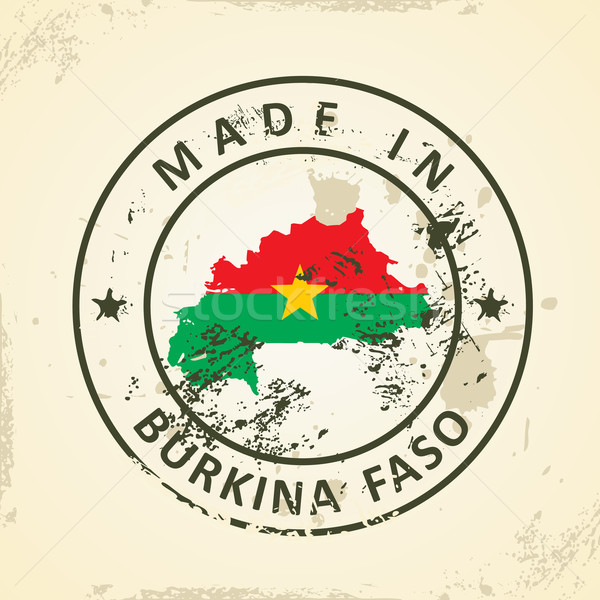 Stamp with map flag of Burkina Faso Stock photo © ojal
