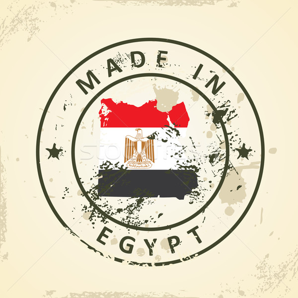 Stamp with map flag of Egypt Stock photo © ojal