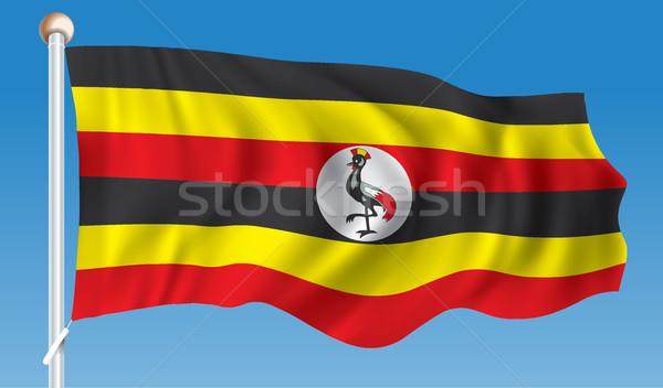 Bandiera Uganda mondo segno uccello grafico Foto d'archivio © ojal