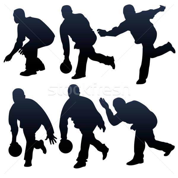 Bowling ludzi sylwetki człowiek sportu zabawy Zdjęcia stock © ojal
