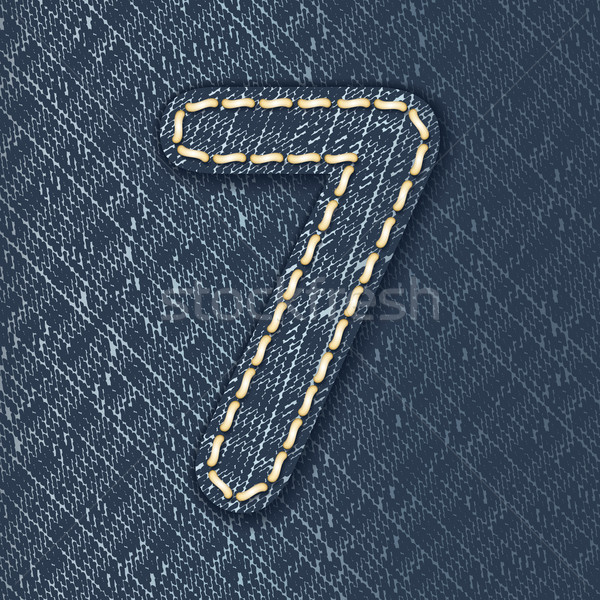Number 7 made from jeans fabric Stock photo © ojal