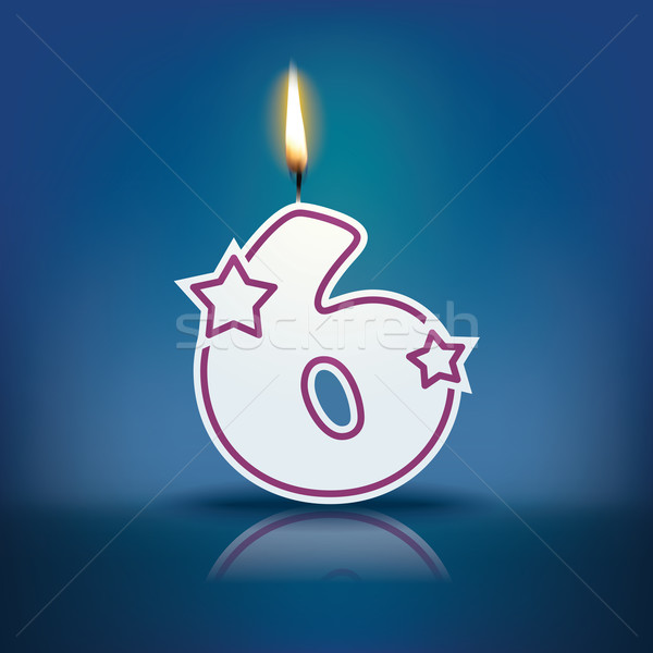 Candle number 6 with flame Stock photo © ojal