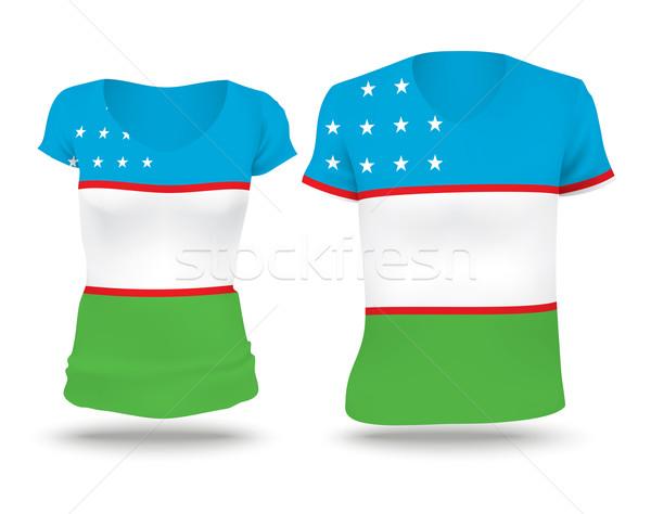 флаг рубашку дизайна Узбекистан женщину человека Сток-фото © ojal