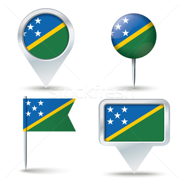 Map pins with flag of Solomon Islands Stock photo © ojal
