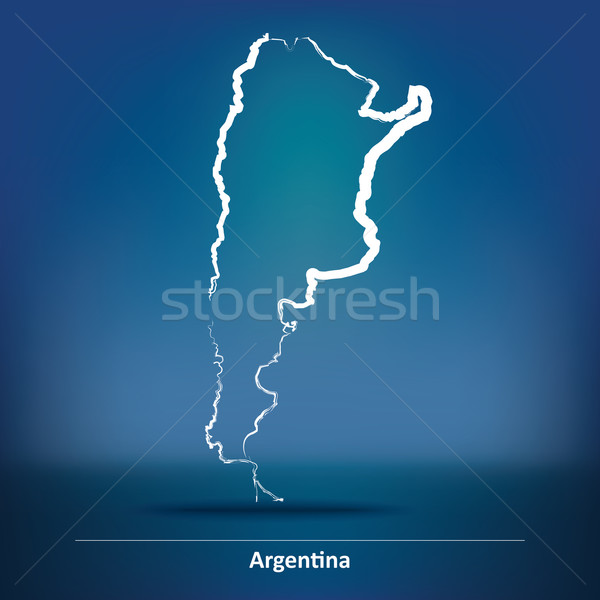 Doodle kaart Argentinië textuur abstract licht Stockfoto © ojal