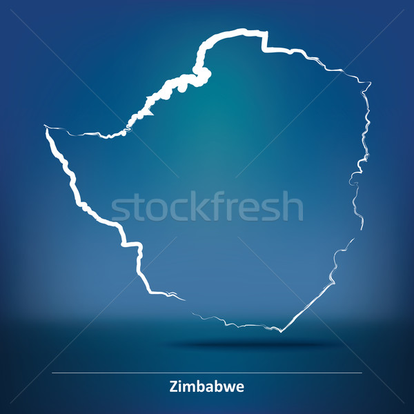 Doodle Map of Zimbabwe Stock photo © ojal