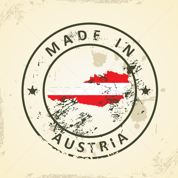 Stamp with map flag of Austria Stock photo © ojal