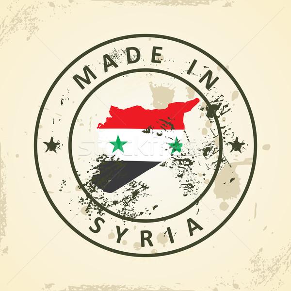 Foto stock: Carimbo · mapa · bandeira · Síria · grunge · textura