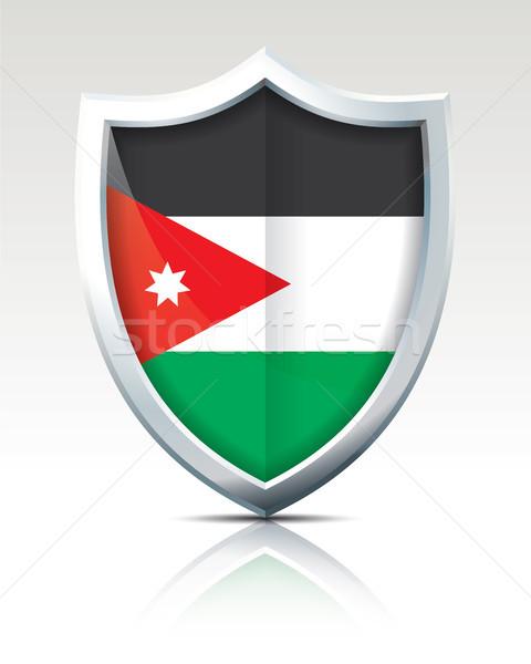 Pajzs zászló Jordánia textúra térkép felirat Stock fotó © ojal