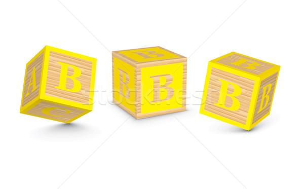 Stockfoto: Vector · brief · houten · alfabet · blokken · business