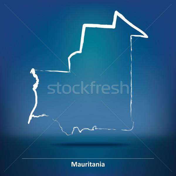 いたずら書き 地図 モーリタニア デザイン 月 にログイン ストックフォト © ojal