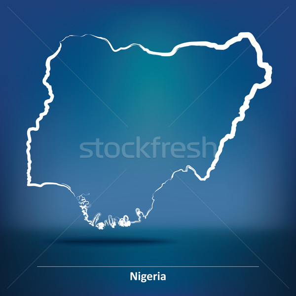 Rabisco mapa Nigéria textura silhueta vento Foto stock © ojal