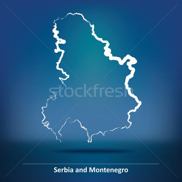 Garabato mapa Serbia Montenegro textura diseno Foto stock © ojal