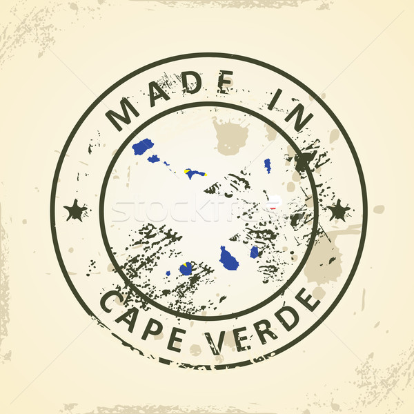 Stamp with map flag of Cape Verde Stock photo © ojal