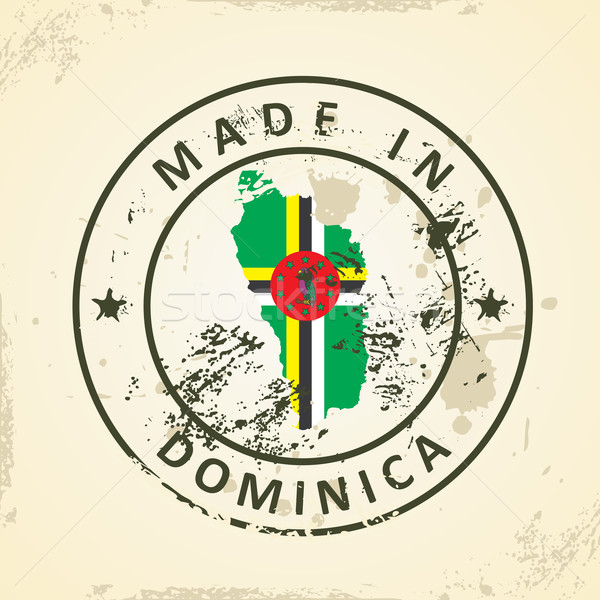 Stamp with map flag of Dominica Stock photo © ojal