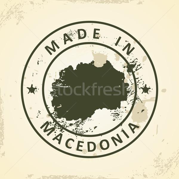 штампа карта Македонии Гранж Мир фон Сток-фото © ojal