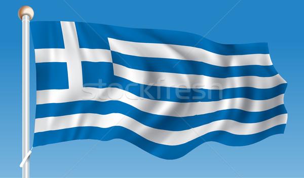 Vlag Griekenland wereld reizen schilderij grafiek Stockfoto © ojal