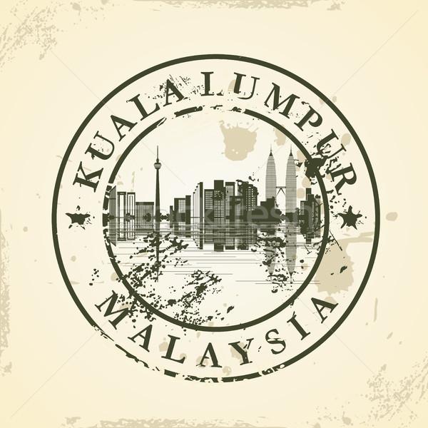 Grunge rubber stamp with Kuala Lumpur, Malaysia Stock photo © ojal