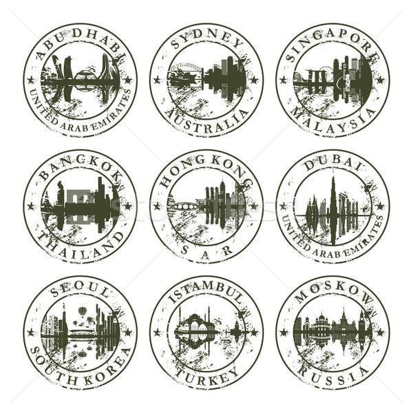 Гранж резиновые марок Абу-Даби Сидней Сингапур Сток-фото © ojal