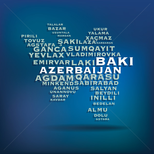 Azerbaijan map made with name of cities Stock photo © ojal