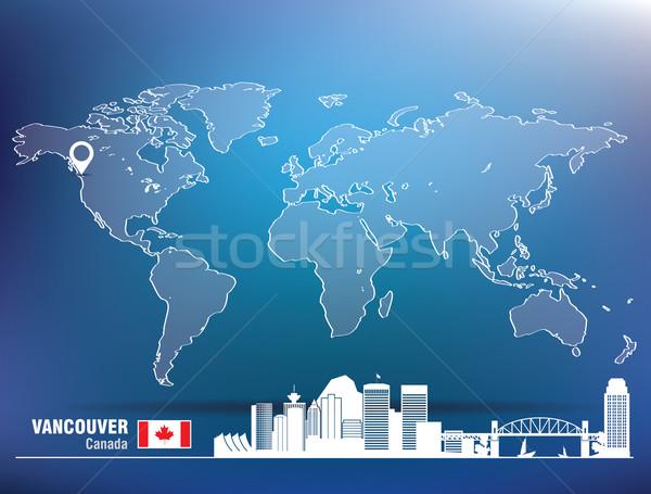 Mapa pin Vancouver linha do horizonte edifício cidade Foto stock © ojal