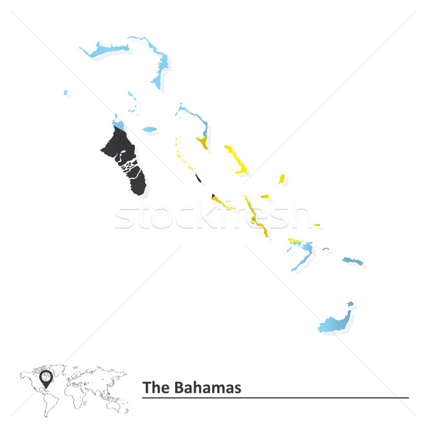 Map of Bahamas with flag Stock photo © ojal