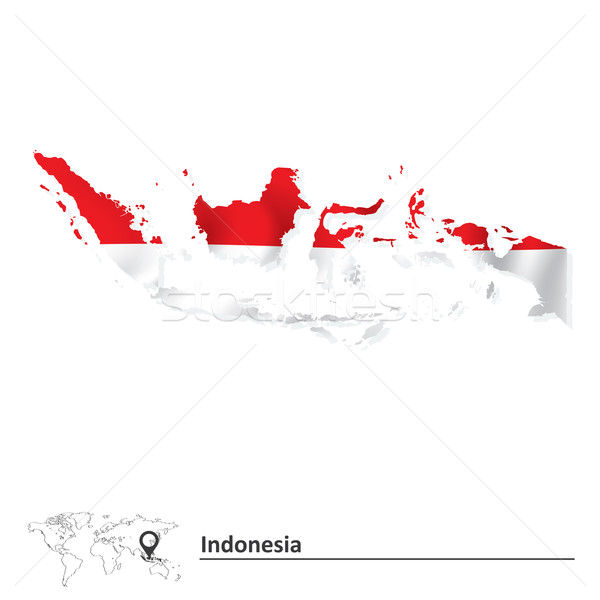 Map of Indonesia with flag Stock photo © ojal