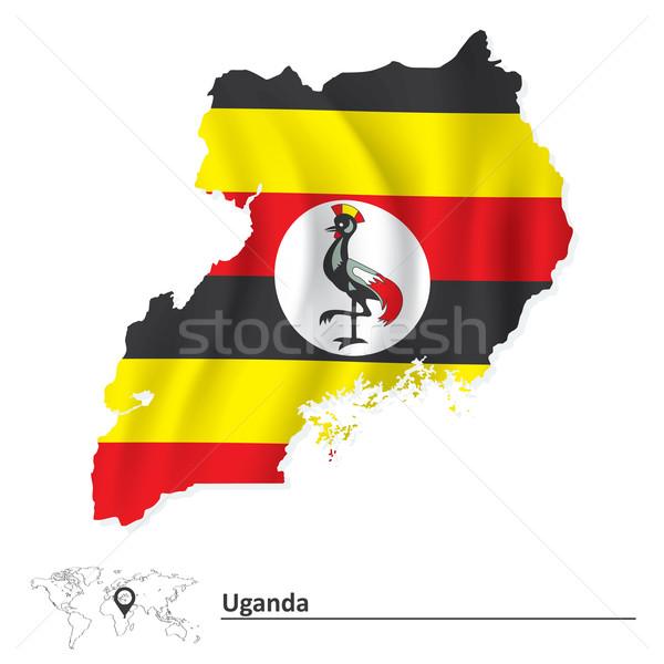Harita Uganda bayrak dünya imzalamak kuş Stok fotoğraf © ojal
