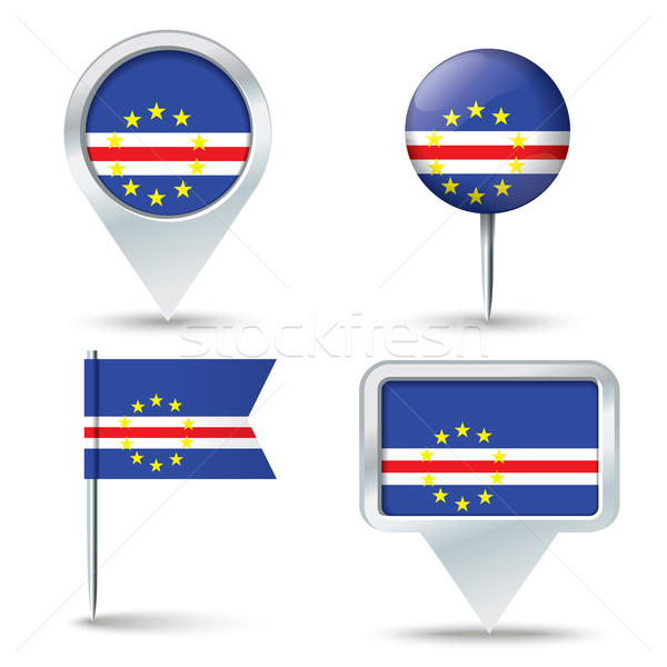 Stock photo: Map pins with flag of Cape Verde