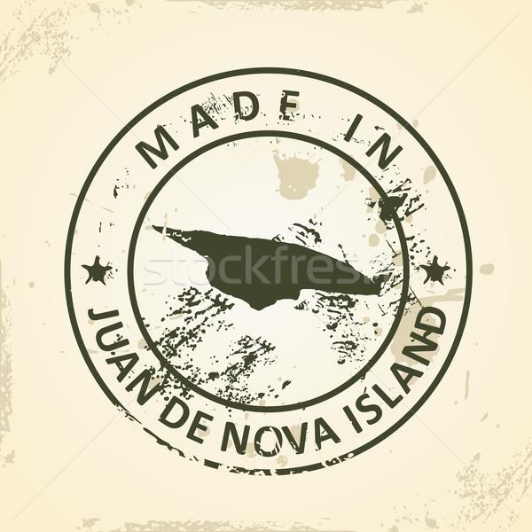 Stamp with map of Juan de Nova Island Stock photo © ojal