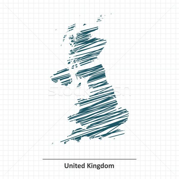 болван эскиз Великобритания карта Мир синий Сток-фото © ojal