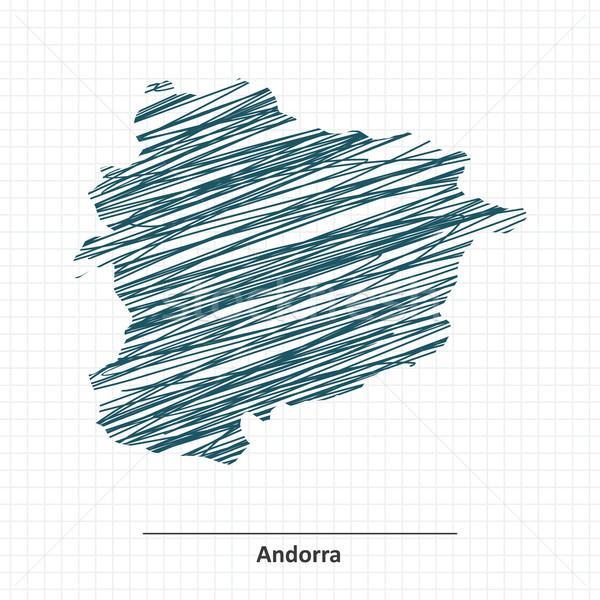 Doodle schets Andorra kaart stad ontwerp Stockfoto © ojal