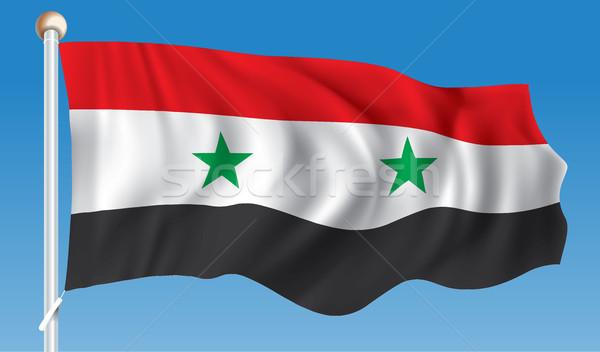 Foto stock: Bandeira · Síria · assinar · verde · estrela · preto
