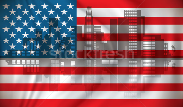 Bandeira eua linha do horizonte escritório projeto arte Foto stock © ojal