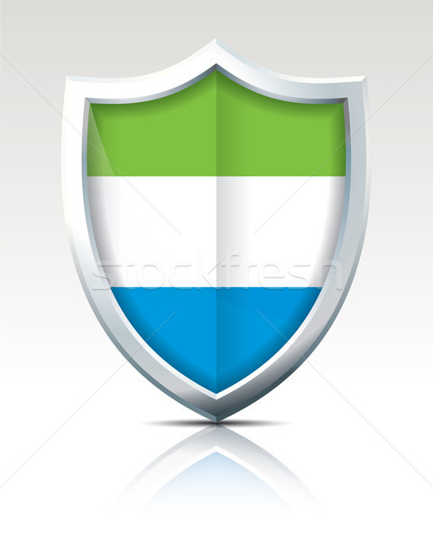 Stock photo: Shield with Flag of Sierra Leone