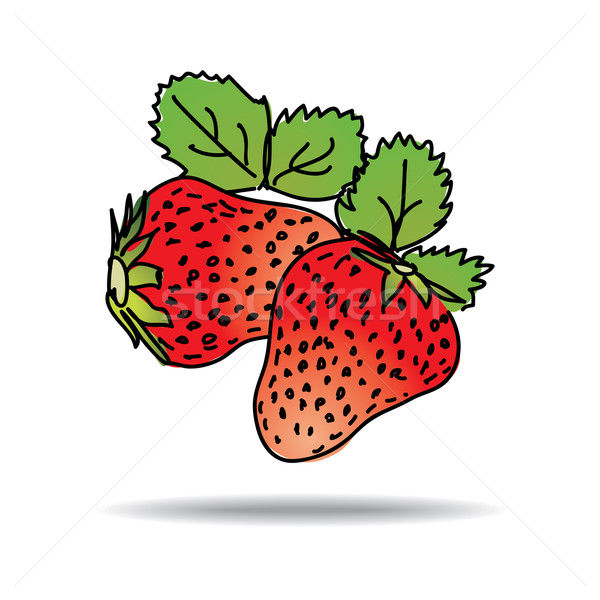 Freehand drawing strawberry icon Stock photo © ojal
