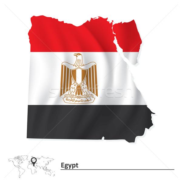 Térkép Egyiptom zászló város világ felirat Stock fotó © ojal