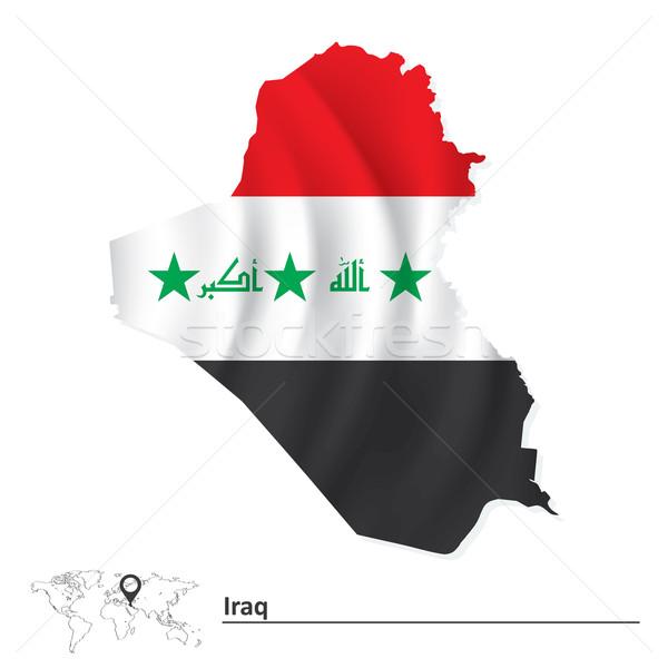 Mapa Iraque bandeira mundo vermelho preto Foto stock © ojal