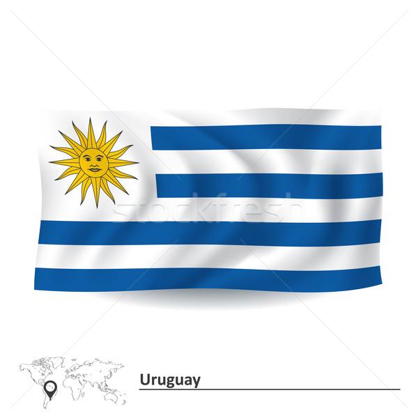 Zászló Uruguay város háttér utazás sziluett Stock fotó © ojal