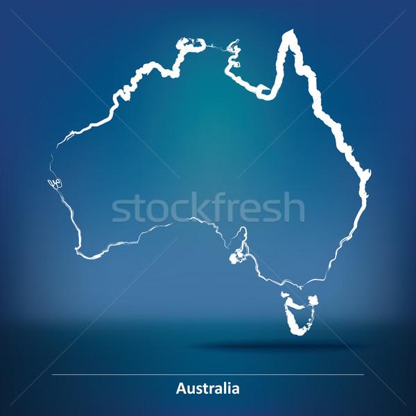 Doodle Karte Australien blau Reise Flagge Stock foto © ojal