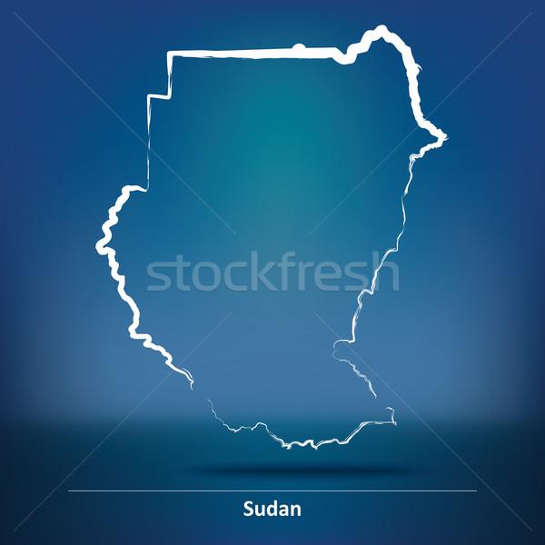Doodle kaart Soedan textuur zee afrika Stockfoto © ojal