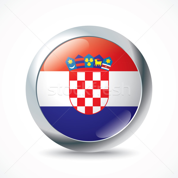Croacia bandera botón resumen diseno azul Foto stock © ojal
