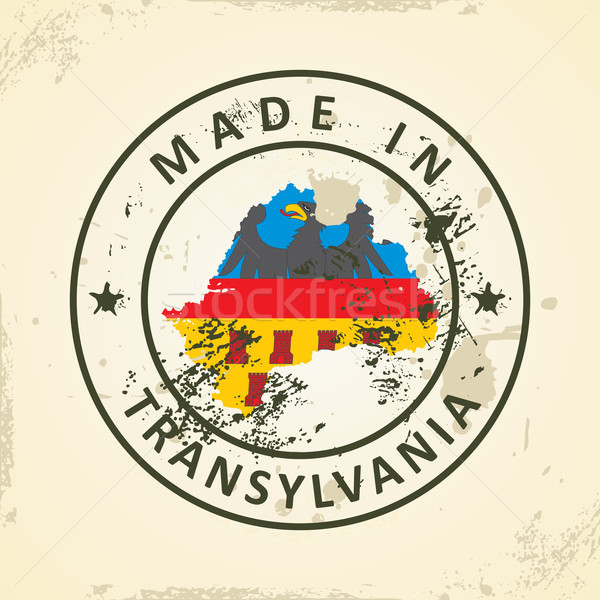 Stamp with map flag of Transylvania Stock photo © ojal