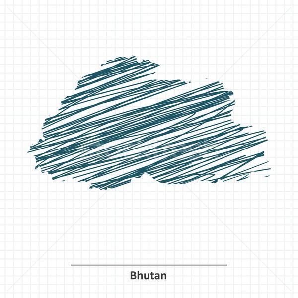 Doodle schets Bhutan kaart water abstract Stockfoto © ojal