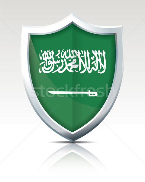 Schild vlag Saoedi-Arabië wereld groene silhouet Stockfoto © ojal
